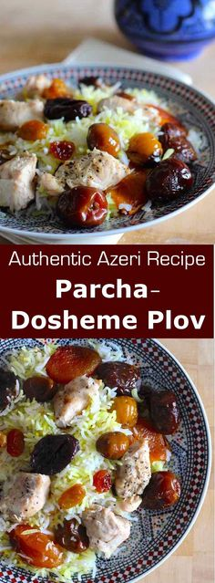 Parcha-dosheme plov is a version of rice pilaf from Azerbaijan with meat and dried fruits like date, dried black plum, apricot, chestnut and raisins. #azerbaijan #pilaf #196flavors