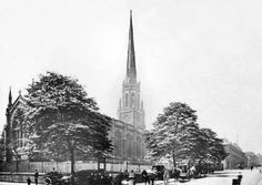 Holy Trinity Church and Hansom cab rank, Trinity Square, c 1895. The Victorian Gothic Revival style Holy Trinity Church, which once stood on Trinity Square, looking from Milton Street, with Burton Street on the right. It was built in 1841 and demolished circa 1957-8. Black Hood, History Photos, Nottingham, Victorian Gothic, Buildings, Street, City, Places, Travel