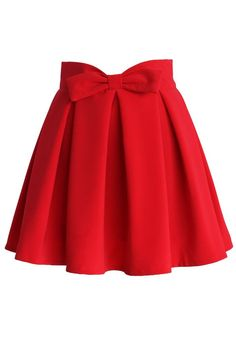 Sweet Your Heart Bowknot Pleated Skirt in Ruby - Skirt Buy 1 Get 1 HALF - Skirt - Bottoms - Retro, Indie and Unique Fashion Red Pleated Skirt, Bow Skirt, Red Skirts, Dress Skirt, Midi Skirt, Dress Up, High Skirts, Flared Skirt, Unique Fashion