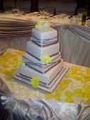 Modern 4 Tier Square Off Set Yellow and Grey Wedding Cake