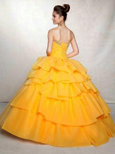 Yellow Sweetheart Floor Length Appliques Quinceanera Dress