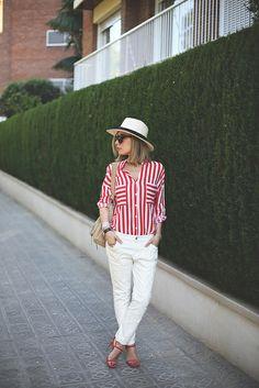 stripe shirt, white boyfriends, summer hat and red sandals