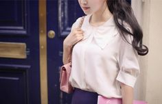 Elbow-Sleeve Bow Accent Blouse - Q.C.T   YESSTYLE