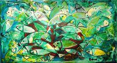 peixes - Pintura,  150x100 cm ©2009 por DOIN -                        Expressionismo abstrato