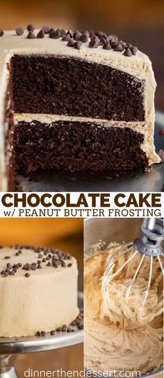 Chocolate Peanut Butter Cake is rich and creamy, made with cocoa powder and peanut butter, ready in under 60 minutes! We're always baking in this kitchen, and if you love this Chocolate Peanut Butt… Chocolate Peanut Butter Frosting, Chocolate Cake Mixes, Homemade Chocolate, Chocolate Desserts, Chocolate Chip Cookies, Chocolate Peanutbutter Cake, Chocolate Cupcakes, Chocolate Ganache, Chocolates