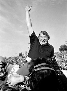John Madden of the Oakland Raiders is carried from the field by his players after his team defeated the Minnesota Vikings in Super Bowl XI in Pasadena, Calif., in this Jan. 9, 1977 photo.