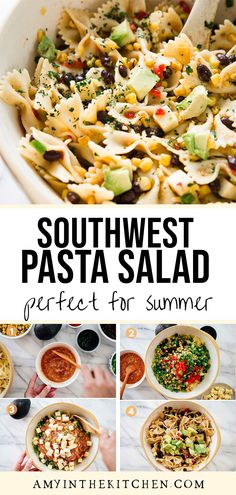 Southwest Pasta Salad is a delicious side dish for summer time grilling. This is a cold pasta that has bold flavors with southwest flavor. We love serving it with grilled chicken. This is a quick and easy pasta recipe! Quick Pasta Recipes, Pasta Dinner Recipes, Creamy Pasta Dishes, Cold Pasta, Healthy Pastas, Vegetarian Options, Pasta Salad, Side Dishes, Appetizers