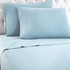 "Pamper yourself with our unique Spa Blue Micro Flannel® sheet sets that create gentle ""micro climate"" of comfort. These light blue sheets are wrinkle resistant, don't shrink, are anti-pilling, and wash and dry quickly."