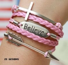 Cross, Arrow And Believe Bracelet.... Starting at $1 on Tophatter.com!