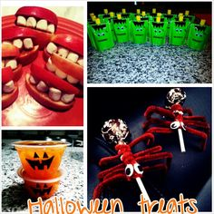 Apples+peanut butter+marshmallows Go Sqeez Apple sauce+ green duct tape+Google eyes  Orange cups+sharpie  Tootsie pops+2 pipe cleaners cut in half wrapped around stick+google eyes