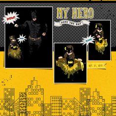batman, batgirl, dc comics, halloween, superheros, super, bam, pow, scrapbook, scrapbooking layout, digital page idea, scrap book
