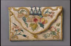 1725-1775, Europe - Pocketbook - Silk satin embroidered with silk thread and silk-wrapped metal
