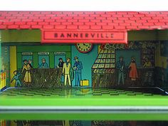 Bannerville Banner Tin Litho Train Station Newsstand HO Train Scale