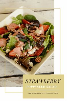 Housewife Eclectic: This Strawberry Poppyseed Salad is the perfect salad full of delicious strawberries, nits, cheese and topped with a homemade strawberry poppyseed dressing. Strawberry Poppyseed Salad, Healthy Snacks, Healthy Recipes, My Favorite Food, Favorite Recipes, Light Recipes, Summer Salads, Green Beans