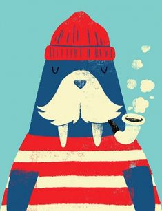 Creative Illustration, Walrus, Monster, Riot, and - image ideas & inspiration on Designspiration Art And Illustration, Josie Loves, Motifs Animal, Framed Art Prints, Illustrators, Character Design, Artsy, Lost, Drawings