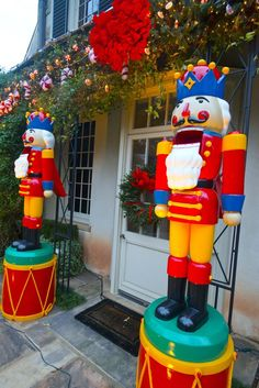 Giant nutcrackers at the home's front are part of my family's favorite decorations and are appreciated by neighbors each year.