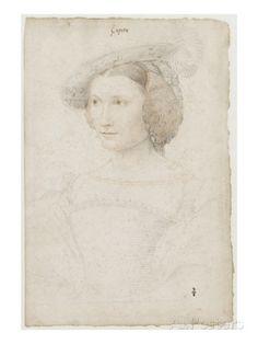 Portrait de Léonore Sapata, dame d'honneur de la reine Eléonore reproduction procédé giclée par Jean Clouet sur AllPosters.fr