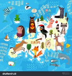 Cartoon world map with traditional animals. Illustrated map of Europe.Vector illustration for children preschool education and kids design - stock vector - stock vector
