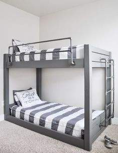 Double your sleeping space with these easy to build DIY Industrial Bunk Bed Free Plans using basic lumber and metal pipe from the hardware store.