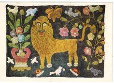 LION AND BEAVERS HOOKED RUG. AMERICAN MUSEUM, CLAVERTON MANOR BATH . RP POSTCARD Hand Hooked Rugs, Rug Ideas, Penny Rugs, Vintage Room, Thimble, Rug Hooking, Naive, Art Paintings, Pet Birds