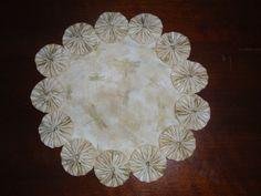 Gold dragonfly yo yo doilycandle mat home decor gift by SursyShop, $8.00