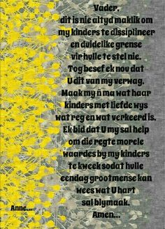 Afrikaanse Quotes, Quotes About Motherhood, Positive Thoughts, Kos, Parenting, Positivity, Inspirational, Table, Image