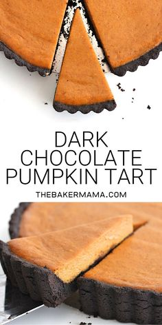 amazing combination of dark chocolate and pumpkin in this dreamy dark chocol. The amazing combination of dark chocolate and pumpkin in this dreamy dark chocol.,The amazing combination of dark chocolate and pumpkin in this dreamy dark chocol. Pumpkin Tarts, Pumpkin Pie Recipes, Fall Recipes, Sweet Recipes, Holiday Recipes, Recipes Dinner, Pumpkin Pumpkin, Healthy Pumpkin, Pumpkin Spice