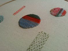 Hannah Lamb - surface darning, in progress   YOU CANNOT WEAVE A ROUND OBJECT- GEOMETRY