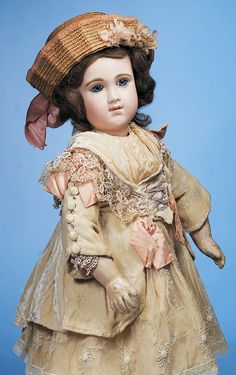 """219: RARE FRENCH BISQUE """"E.J.A."""" BEBE BY EMILE JUMEAU : Lot 219"""