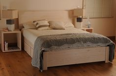 BED SALE  BED SALE BED SALE   Save with our bedroom collection deals Save £155...... Reduced from £1004 to £859 shown in white colour wash. Full choice of colours available. A beautiful easy assembly double 4ft 6 ins  bed with extra wide foot board, two under bed storage drawers with lids on easy glide wheels and two tall cube bedside cabinets. All made in solid wood with a lifetime guarantee. See bed assembly video Here This beautiful hand made wooden bed with lidded under bed storage…