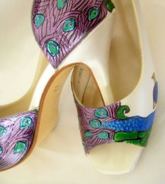 lime and purple heels | Shoes,Bridal,Wedding Peacock painted art deco Peep toes, PURPLE ...