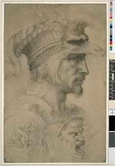 """Ideal Head of a Warrior"" (Count of Canossa) -- Circa -- Anonymous Artist (After Michelangelo) -- Black chalk on paper -- The British Museum, London Michelangelo, Renaissance Kunst, Italian Renaissance, Caravaggio, Famous Artists, Great Artists, Giacometti, Italian Sculptors, Illustration"