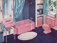 A vintage snack: super-pink bathrooms from the and 1941 American Standard Pepto-Pink Bath Vintage Light Fixtures, Vintage Lighting, Home Garden Images, Pink Bathtub, Vintage Bathrooms, Pink Bathrooms, 1950s Bathroom, Mauve Bathroom, Bathroom Marble