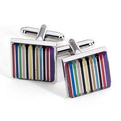 Bey-Berk Rhodium-Plated Cufflinks with Stripes Design - J187