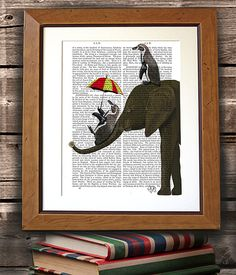 Elephant & Penguins - elephant nursery décor elephant nursery art elephant print elephant gift elephant wall hanging elephant love painting