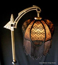 Antique Bridge Lamp and Shade. Fully beaded, trimmed with imported braiding, lined with silk. Antique Floor Lamps, Victorian Lamps, Victorian Lamp Shades, Design Light, Design Design, Design Table, House Design, Vintage Lampshades, Custom Lamp Shades