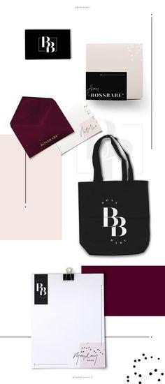 Brand design, brand board, brand styling for BossBabe. Baby pink and black colour palette, stylish branding, luxury branding, feminine branding. Brand design for female entrepreneurs. Logo design, print design, merchandise branding, marketing branding, business tips