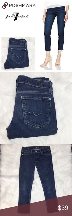 "7 FAM Roxanne Ankle Jeans size 28 Medium/dark wash, very good condition. Slight wear on the knees but appear to be factory. Inseam measures approximately 24.5"". Flat waist measures approximately 15"", with an 8"" rise. 5-pocket style. Light blue/silver stitching. 7 For All Mankind Jeans Ankle & Cropped"