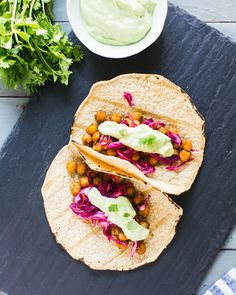 Spiced Chickpea Tacos with Avocado Cream