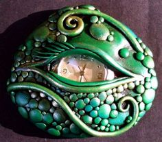 Dragon Eye Polymer clay Wearable Art Pin (Not tutorial - just for ideas.)