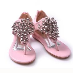 Buy Flower Pageant Girl Pink Thong Pageant Shoes Sandals Discount SKU-133076