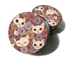 Adorable Floral Cats Single Flare or Double by LunaAndEvesBoutique