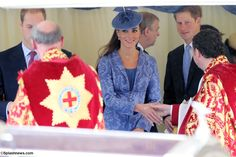 It is yet another busy day for Kate, she started the morning at Prince Philip's 90th birthday service.  Many readers will recognize pieces in Kate's ensemble, beginning with the periwinkle blue Jane Troughton brocade coat. (For more on the coat, click the tab above labeled 'Iconic Looks'.)