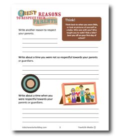Infographic and worksheets for elementary grades on respecting my parents. You can download the free pdf version which includes a worksheet.