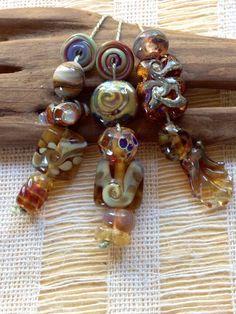 Glass lampwork beads designer set of 15 by Catalina Glass SRA