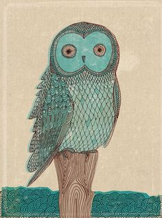 This is a cute little blue owl, hand drawn by me, Paula Mills. Each print is a high quality Epson ink jet, using archival inks, on Epson A5