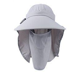 c0de09c15a3 Lanzom Wide Brim Summer Sun Hats Removable Neck and Face ... Balaclava
