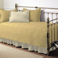 Trellis 5-pc. Floral and Plaid Daybed Quilt Set, Yellow