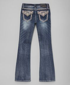 Medium Wash Button-Flap Flare Jeans