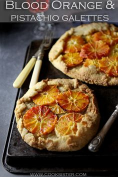 Rustic blood orange & pistachio galettes combine the sweetness of blood oranges with a deliciously nutty pistachio frangipane on a free-form pastry base that's as easy to make as it's delicious! Clotted Cream, Cream Cream, Orange Slices, Blood Orange, Pistachio, Tray Bakes, A Food, Food Processor Recipes, Rustic